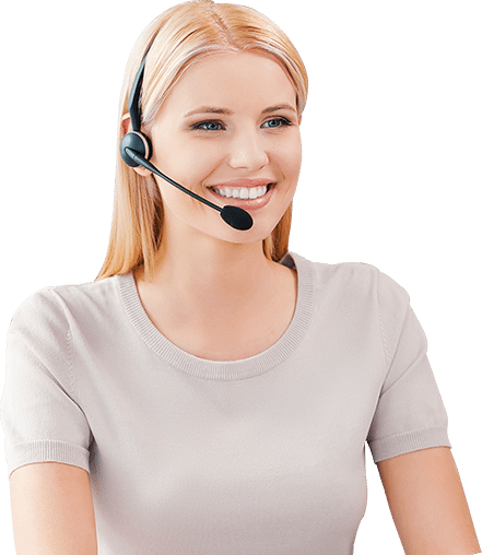 woman talking with a headset